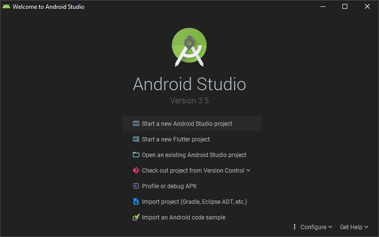 tampilan awal android studio