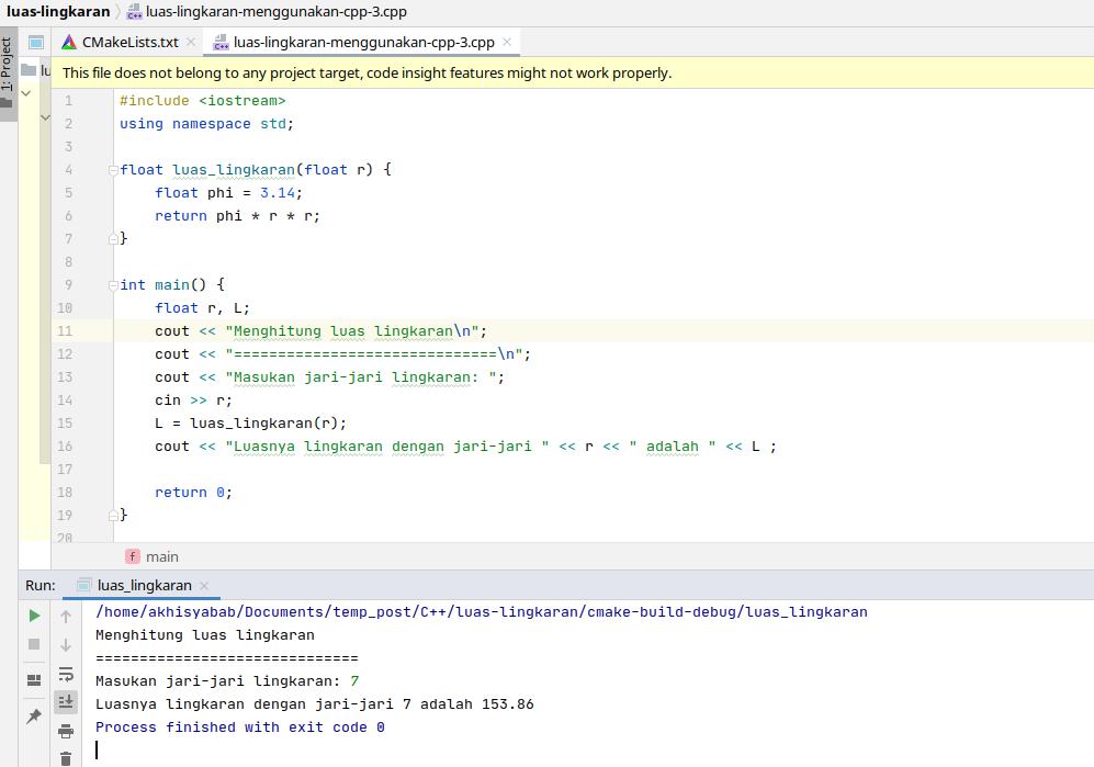cara membuat program sederhana menghitung luas lingkaran menggunakan c++ - 2