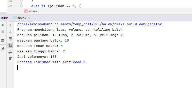 program menghitung luas volume dan balok menggunakan c++ - 2