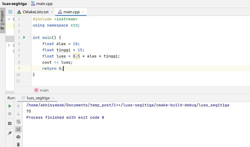program luas segitiga menggunakan c++