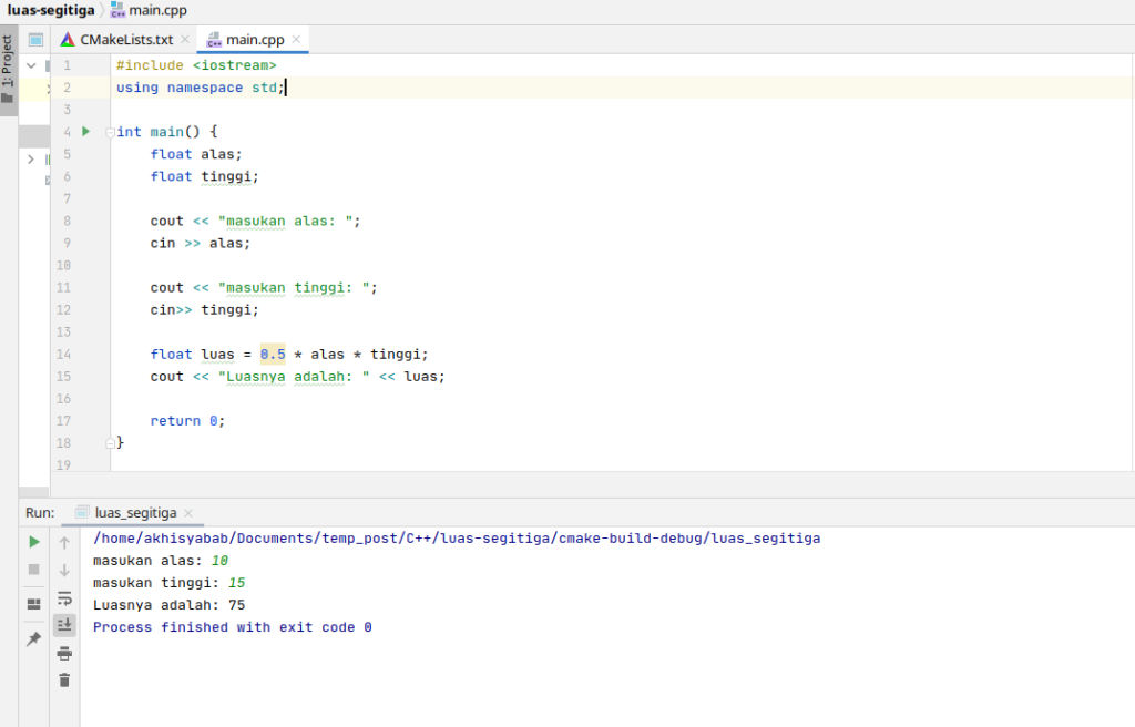 program luas segitiga menggunakan c++ - 2