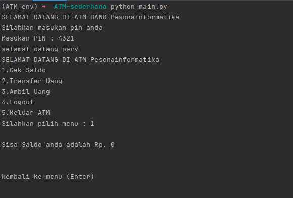 Membuat Program ATM Sederhana Menggunakan Python - pesonainformatika.com